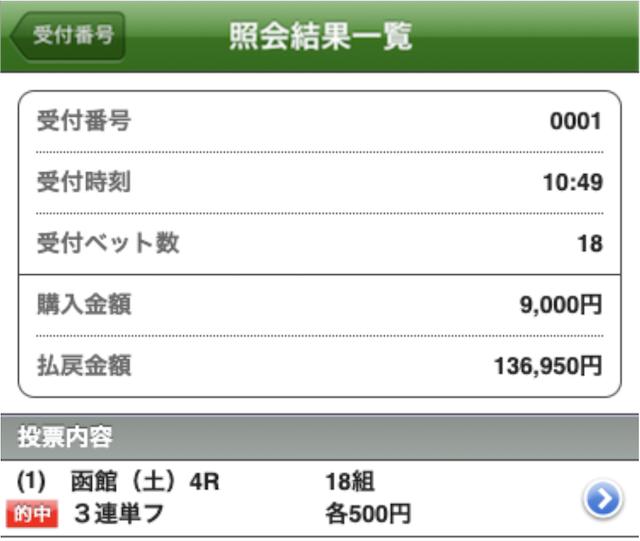 エッジ 有料予想 7月3日 函館4R 結果画面