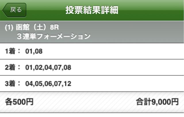 エッジ 有料予想 函館8R 7月3日 投票画面