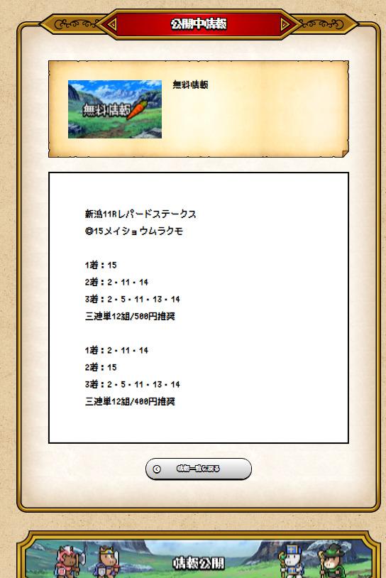ホスクエ 8月8日 新潟11R